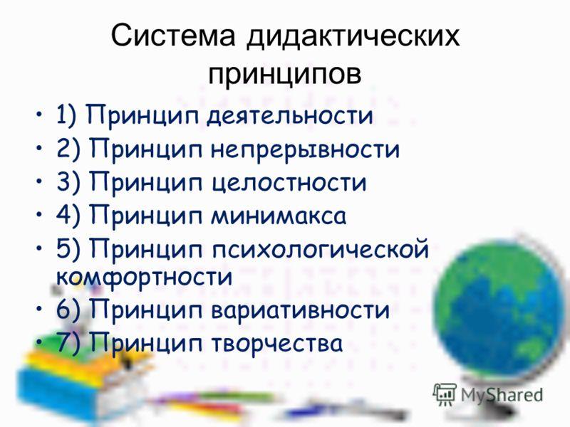 Система дидактических принципов 1) Принцип деятельности 2) Принцип непрерывности 3) Принцип целостности 4) Принцип минимакса 5) Принцип психологической комфортности 6) Принцип вариативности 7) Принцип творчества