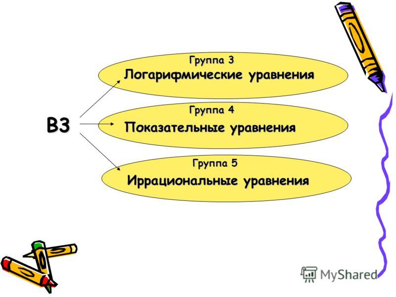 Группа 5 Группа 4 Группа 3 В3 Логарифмические уравнения Показательные уравнения Иррациональные уравнения