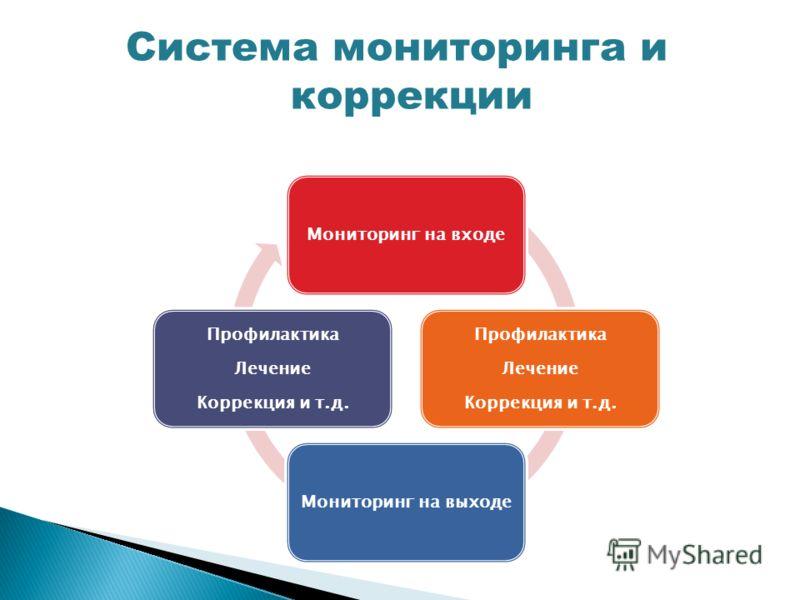 Мониторинг на входе Профилактика Лечение Коррекция и т.д. Мониторинг на выходе Профилактика Лечение Коррекция и т.д. Система мониторинга и коррекции