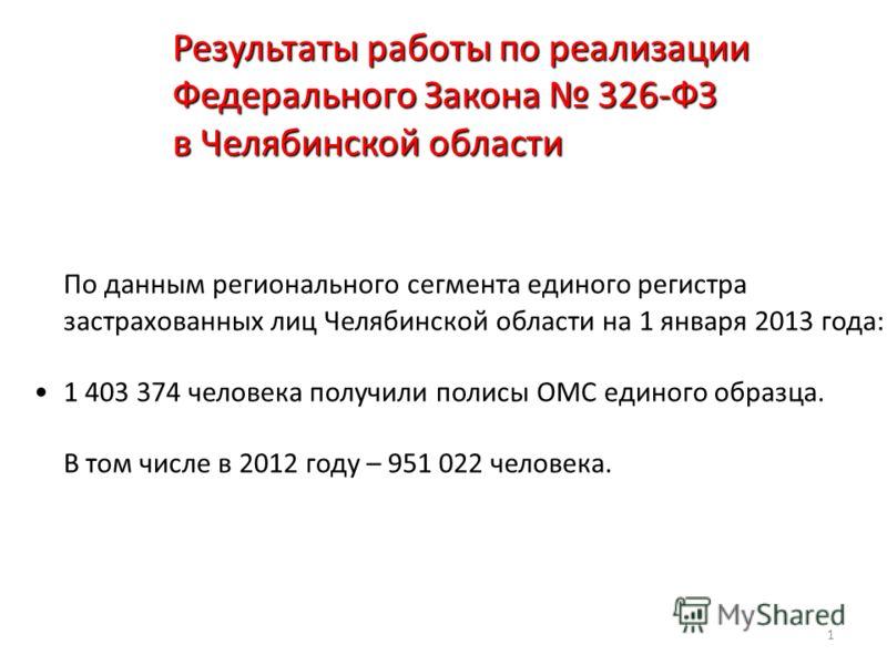 1 Результаты работы по реализации Федерального Закона 326-ФЗ в Челябинской области По данным регионального сегмента единого регистра застрахованных лиц Челябинской области на 1 января 2013 года: 1 403 374 человека получили полисы ОМС единого образца.