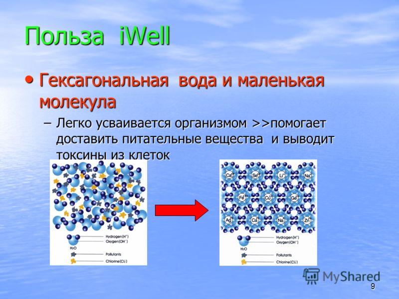 9 Польза iWell Гексагональная вода и маленькая молекула Гексагональная вода и маленькая молекула –Легко усваивается организмом >>помогает доставить питательные вещества и выводит токсины из клеток