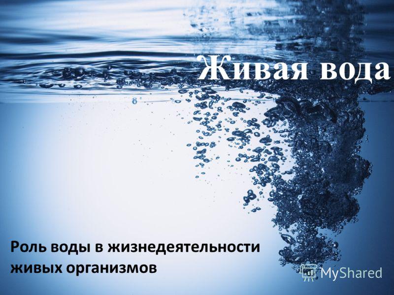 Живая вода Роль воды в жизнедеятельности живых организмов