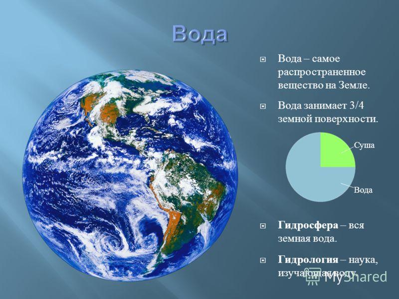 Вода – самое распространенное вещество на Земле. Вода занимает 3/4 земной поверхности. Гидросфера – вся земная вода. Гидрология – наука, изучающая воду. Суша Вода