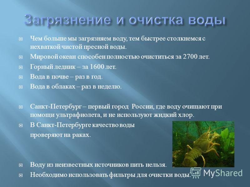 Чем больше мы загрязняем воду, тем быстрее столкнемся с нехваткой чистой пресной воды. Мировой океан способен полностью очиститься за 2700 лет. Горный ледник – за 1600 лет. Вода в почве – раз в год. Вода в облаках – раз в неделю. Санкт - Петербург –