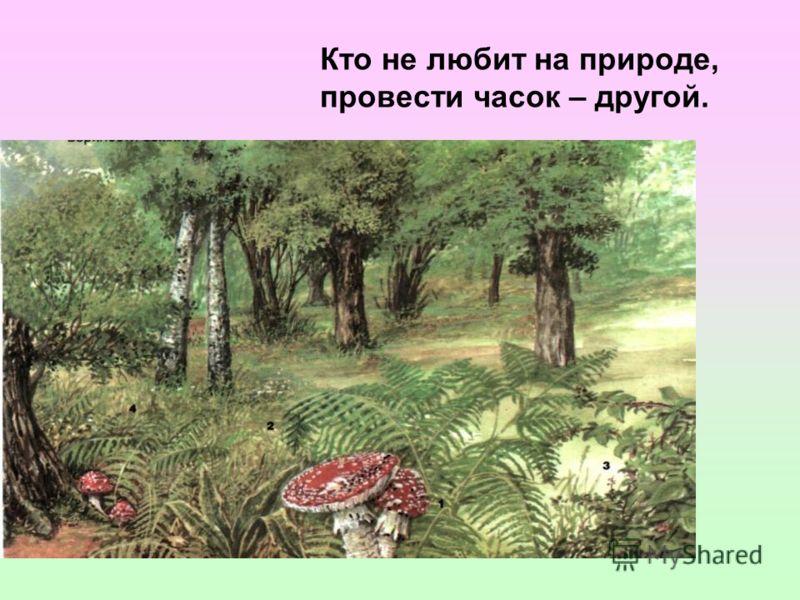 Кто не любит на природе, провести часок – другой.