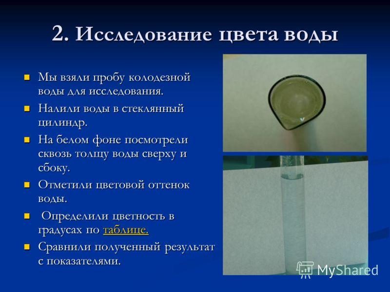 2. Исследование цвета воды Мы взяли пробу колодезной воды для исследования. Мы взяли пробу колодезной воды для исследования. Налили воды в стеклянный цилиндр. Налили воды в стеклянный цилиндр. На белом фоне посмотрели сквозь толщу воды сверху и сбоку