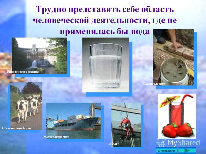 Трудно представить себе область человеческой деятельности, где не применялась бы вода Гидроэлектростанция Сельское хозяйство Машиностроение Строительство В быту К оглавлению