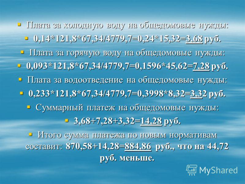 Плата за холодную воду на общедомовые нужды: Плата за холодную воду на общедомовые нужды: 0,14*121,8*67,34/4779,7=0,24*15,32=3,68 руб. 0,14*121,8*67,34/4779,7=0,24*15,32=3,68 руб. Плата за горячую воду на общедомовые нужды: Плата за горячую воду на о