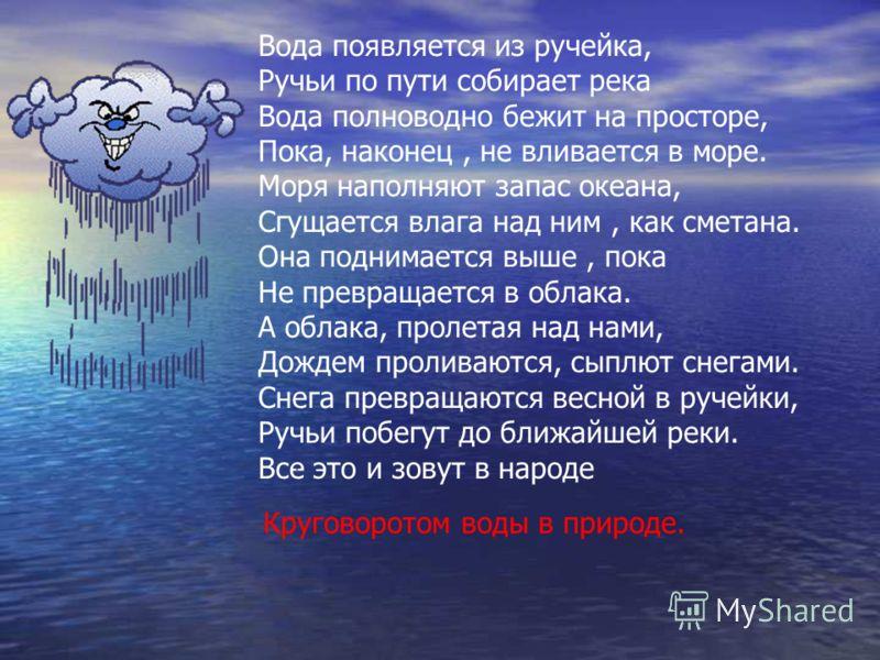 Вода появляется из ручейка, Ручьи по пути собирает река Вода полноводно бежит на просторе, Пока, наконец, не вливается в море. Моря наполняют запас океана, Сгущается влага над ним, как сметана. Она поднимается выше, пока Не превращается в облака. А о