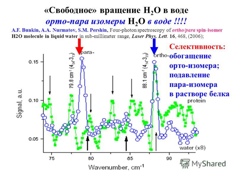 «Свободное» вращение Н 2 О в воде орто-пара изомеры Н 2 О в воде !!!! A.F. Bunkin, A.A. Nurmatov, S.M. Pershin, Four-photon spectroscopy of ortho/para spin-isomer H2O molecule in liquid water in sub-millimeter range, Laser Phys. Lett. 16, 468, (2006)