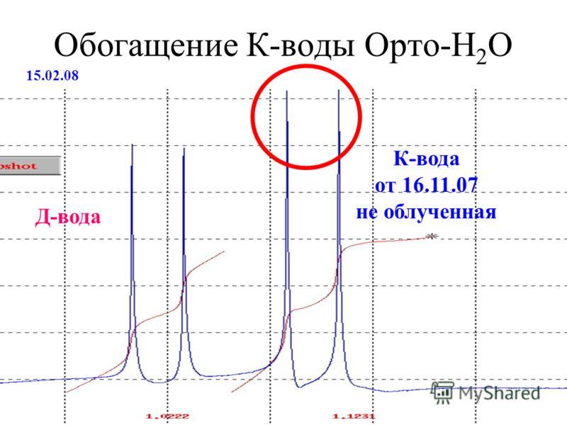 Обогащение К-воды Орто-Н 2 О 15.02.08 К-вода от 16.11.07 не облученная Д-вода