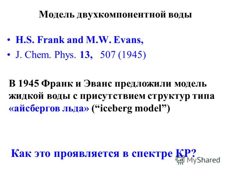 Модель двухкомпонентной воды H.S. Frank and M.W. Evans, J. Chem. Phys. 13, 507 (1945) В 1945 Франк и Эванс предложили модель жидкой воды с присутствием структур типа «айсбергов льда» (iceberg model) Как это проявляется в спектре КР?