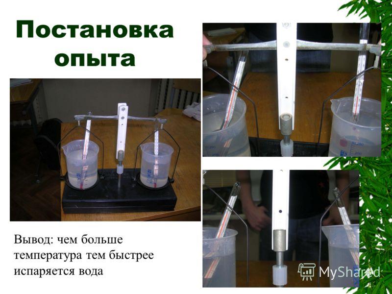 Постановка опыта Вывод: чем больше температура тем быстрее испаряется вода