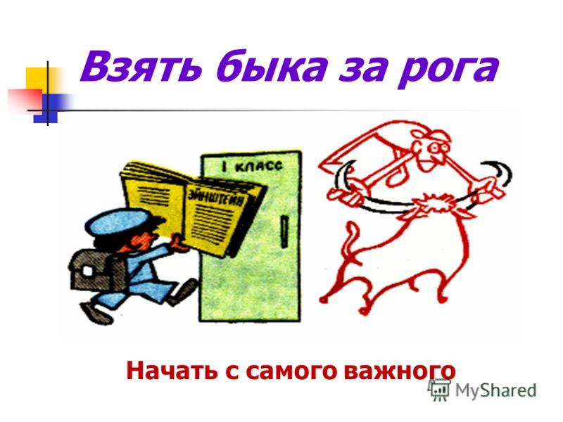 Взять быка за рога Начать с самого важного