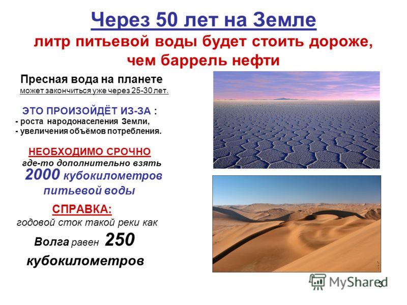 3 Через 50 лет на Земле литр питьевой воды будет стоить дороже, чем баррель нефти Пресная вода на планете может закончиться уже через 25-30 лет. ЭТО ПРОИЗОЙДЁТ ИЗ-ЗА : - роста народонаселения Земли, - увеличения объёмов потребления. НЕОБХОДИМО СРОЧНО