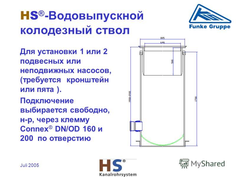 Juli 2005 Для установки 1 или 2 подвесных или неподвижных насосов, (требуется кронштейн или пята ). Подключение выбирается свободно, н-р, через клемму Connex ® DN/OD 160 и 200 по отверстию HS ® -Водовыпускной колодезный ствол