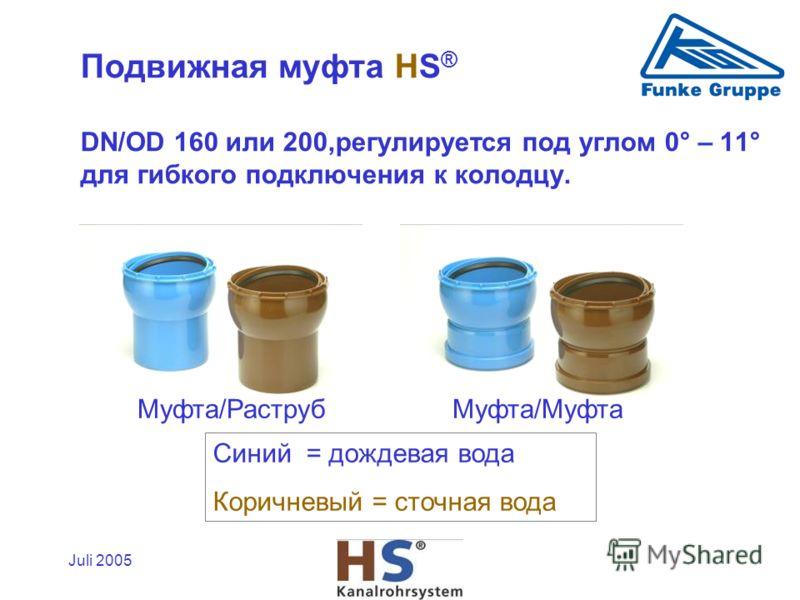Juli 2005 Mуфта/РаструбMуфта/Mуфта Синий = дождевая вода Коричневый = сточная вода Подвижная муфта HS ® DN/OD 160 или 200,регулируется под углом 0° – 11° для гибкого подключения к колодцу.