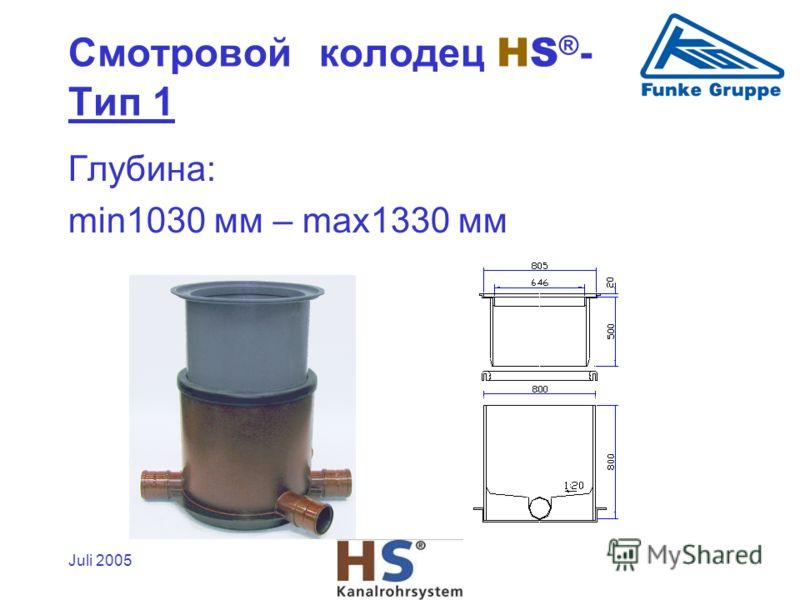 Juli 2005 Глубина: min1030 мм – max1330 мм Смотровой колодец HS ® - Tип 1