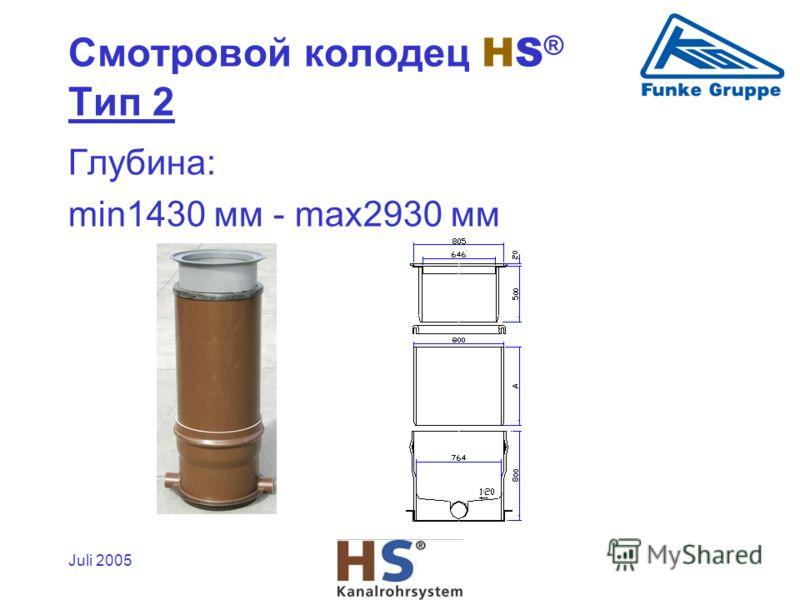 Juli 2005 Глубина: min1430 мм - max2930 мм Смотровой колодец HS ® Tип 2