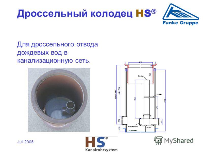Juli 2005 Для дроссельного отвода дождевых вод в канализационную сеть. Дроссельный колодец HS ®