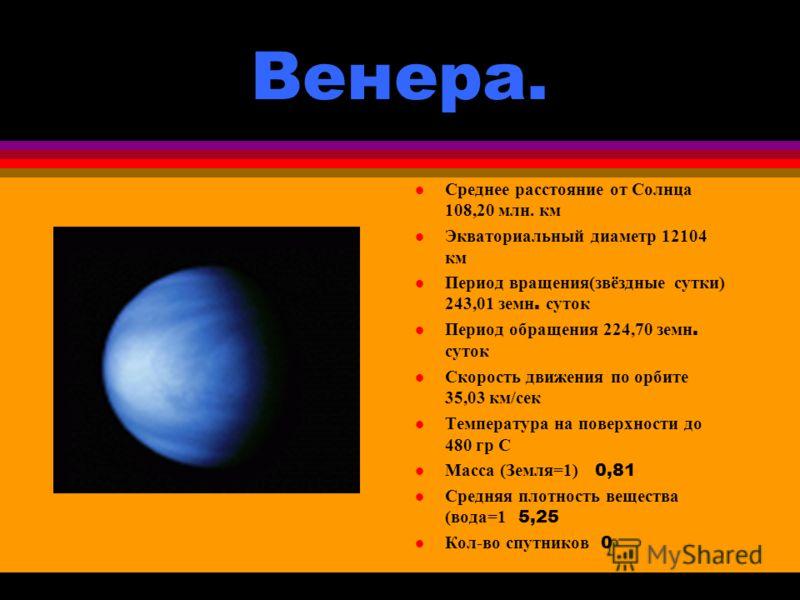 Меркурий. Среднее расстояние от Солнца 57,93 млн. км l Экваториальный диаметр 4879 км Период вращения 58,65 земн. суток Период обращения 87,97 земн. суток l Скорость движения по орбите 47,89 км/сек Температура на поверхности от - 180 до +430 0 C Масс