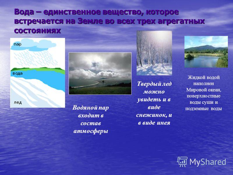 Вода – единственное вещество, которое встречается на Земле во всех трех агрегатных состояниях Жидкой водой наполнен Мировой океан, поверхностные воды суши и подземные воды Твердый лед можно увидеть и в виде снежинок, и в виде инея Водяной пар входит