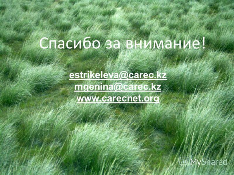 Спасибо за внимание! estrikeleva@carec.kz mgenina@carec.kz www.carecnet.org