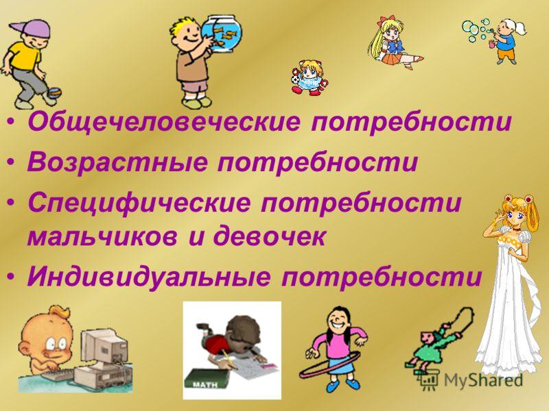Общечеловеческие потребности Возрастные потребности Специфические потребности мальчиков и девочек Индивидуальные потребности
