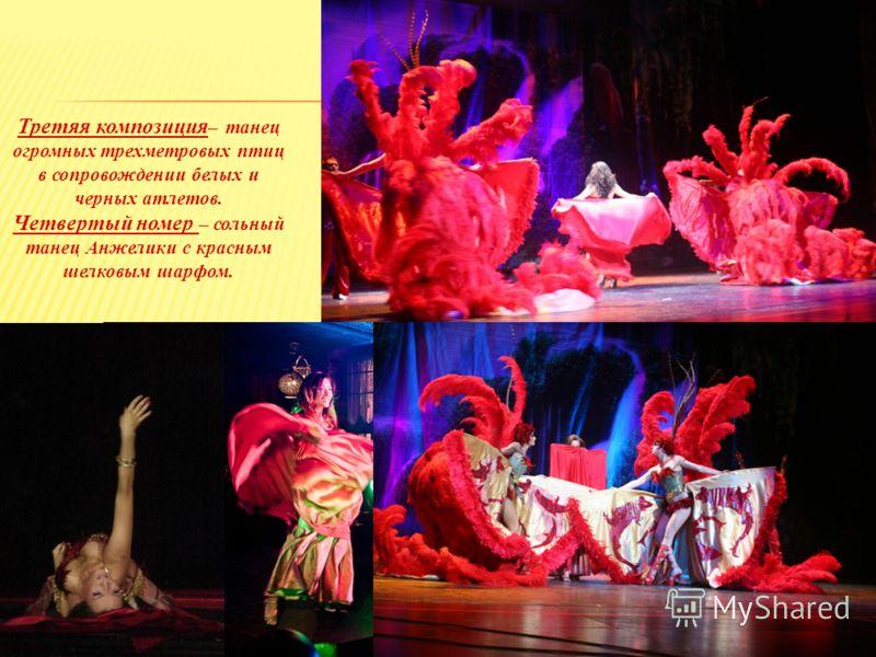 Третяя композиция – танец огромных трехметровых птиц в сопровождении белых и черных атлетов. Четвертый номер – сольный танец Анжелики с красным шелковым шарфом.