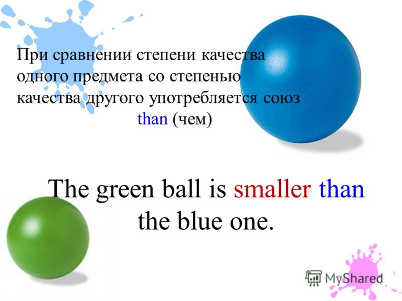 The green ball is smaller than the blue one. При сравнении степени качества одного предмета со степенью качества другого употребляется союз than (чем)