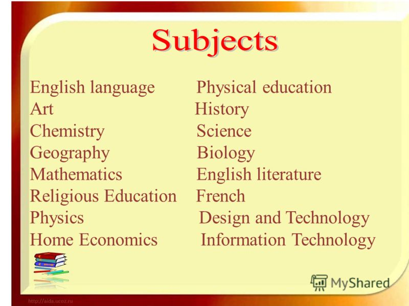 English language Physical education Art History Chemistry Science Geography Biology Mathematics English literature Religious Education French Physics Design and Technology Home Eсonomics Information Technology