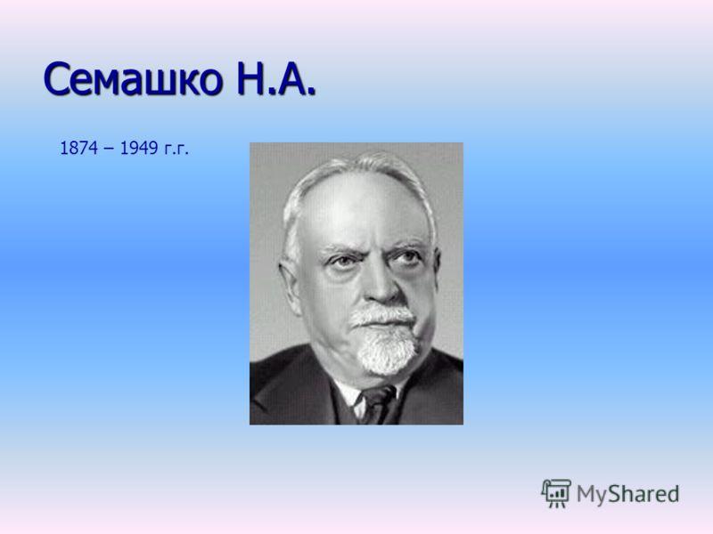 Семашко Н.А. 1874 – 1949 г.г.