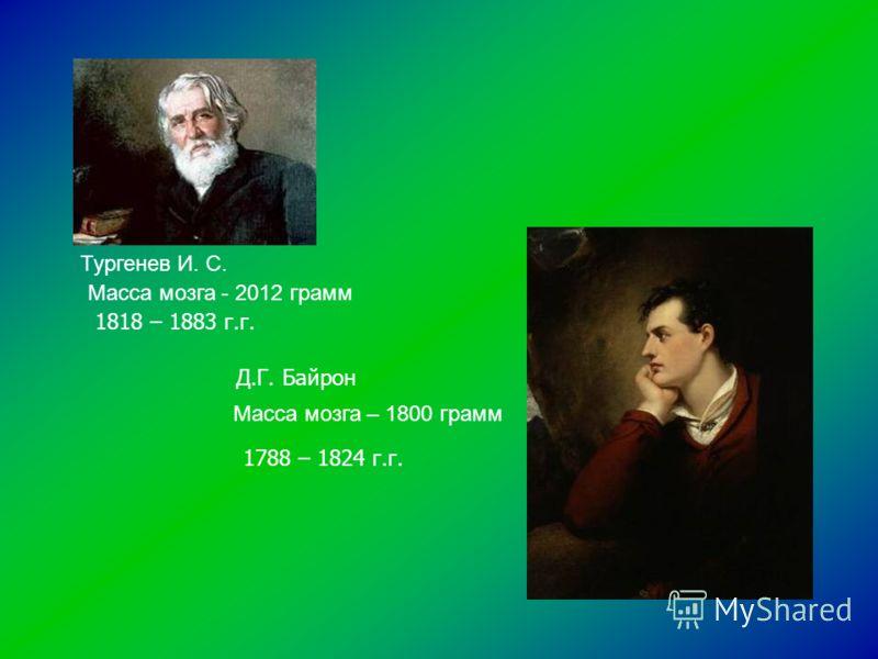 Тургенев И. С. Масса мозга - 2012 грамм Масса мозга – 1800 грамм 1818 – 1883 г.г. Д.Г. Байрон 1788 – 1824 г.г.