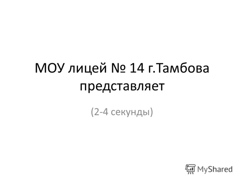 МОУ лицей 14 г.Тамбова представляет (2-4 секунды)
