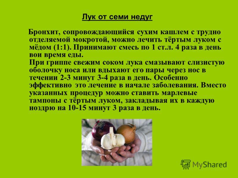 Лук от семи недуг Бронхит, сопровождающийся сухим кашлем с трудно отделяемой мокротой, можно лечить тёртым луком с мёдом (1:1). Принимают смесь по 1 ст.л. 4 раза в день вои время еды. При гриппе свежим соком лука смазывают слизистую оболочку носа или