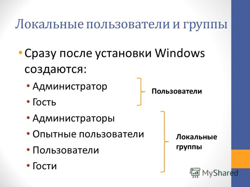 Локальные пользователи и группы Сразу после установки Windows создаются: Администратор Гость Администраторы Опытные пользователи Пользователи Гости Пользователи Локальные группы