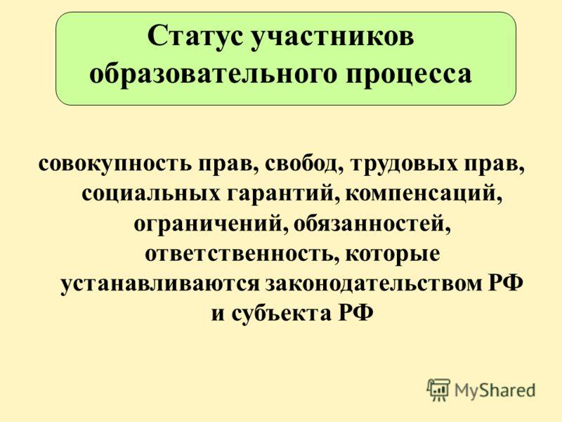 Статус участников образовательного процесса совокупность прав, свобод, трудовых прав, социальных гарантий, компенсаций, ограничений, обязанностей, ответственность, которые устанавливаются законодательством РФ и субъекта РФ