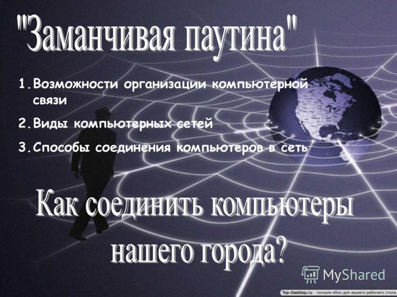 1.Возможности организации компьютерной связи 2.Виды компьютерных сетей 3.Способы соединения компьютеров в сеть