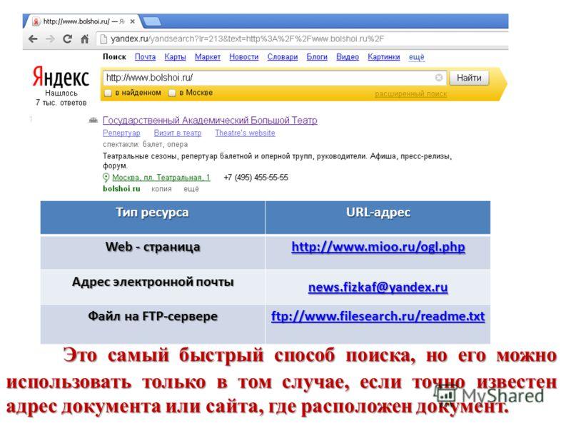 Тип ресурса URL-адрес Web - страница http://www.mioo.ru/ogl.php Адрес электронной почты news.fizkaf@yandex.ru Файл на FTP-сервере ftp://www.filesearch.ru/readme.txt ftp://www.filesearch.ru/readme.txt Это самый быстрый способ поиска, но его можно испо