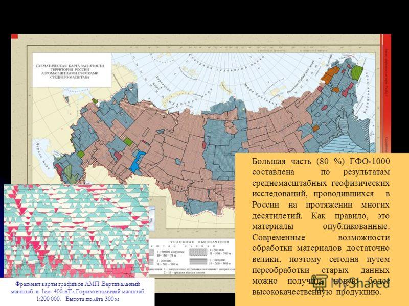 Фрагмент карты графиков АМП.Вертикальный масштаб: в 1см 400 нТл Горизонтальный масштаб 1:200 000. Высота полёта 300 м Большая часть (80 %) ГФО-1000 составлена по результатам среднемасштабных геофизических исследований, проводившихся в России на протя