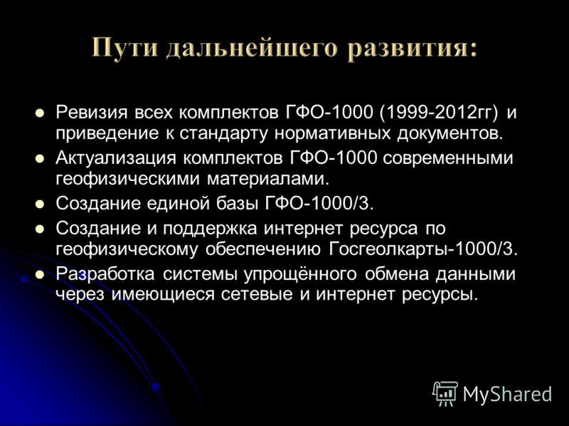 Ревизия всех комплектов ГФО-1000 (1999-2012гг) и приведение к стандарту нормативных документов. Актуализация комплектов ГФО-1000 современными геофизическими материалами. Создание единой базы ГФО-1000/3. Создание и поддержка интернет ресурса по геофиз