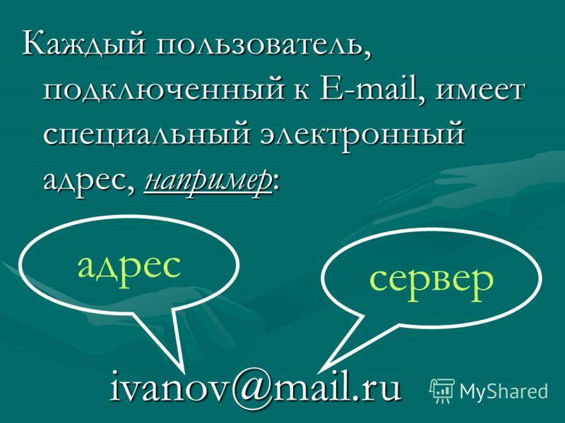Каждый пользователь, подключенный к Е-mail, имеет специальный электронный адрес, например: ivanov@mail.ru сервер адрес
