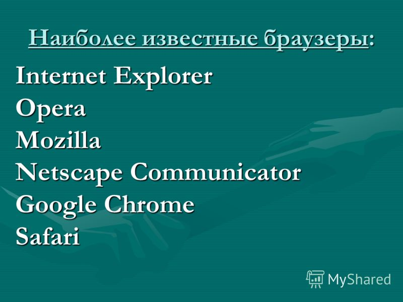 Наиболее известные браузеры: Internet Explorer OperaMozilla Netscape Communicator Google Chrome Safari