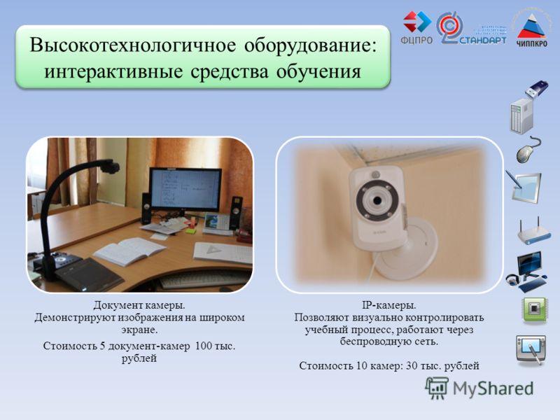 Высокотехнологичное оборудование: интерактивные средства обучения Документ камеры. Демонстрируют изображения на широком экране. Стоимость 5 документ-камер 100 тыс. рублей IP-камеры. Позволяют визуально контролировать учебный процесс, работают через б