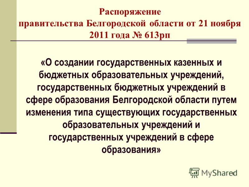 66 Распоряжение правительства Белгородской области от 21 ноября 2011 года 613рп «О создании государственных казенных и бюджетных образовательных учреждений, государственных бюджетных учреждений в сфере образования Белгородской области путем изменения