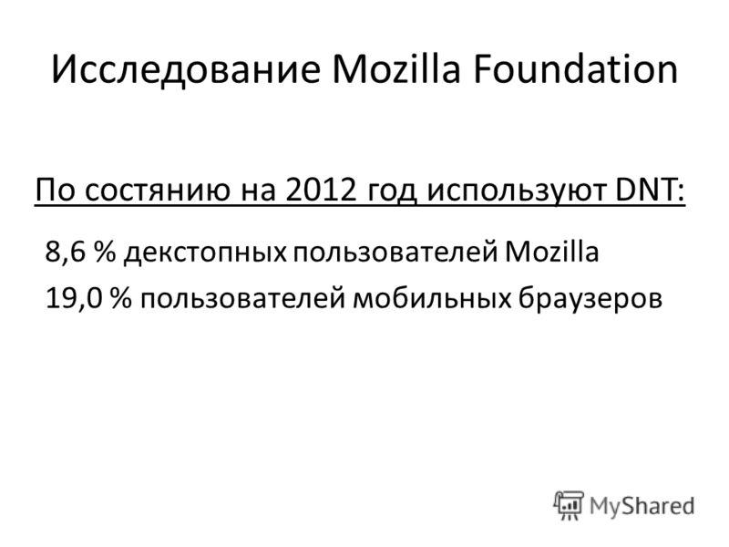 Исследование Mozilla Foundation 8,6 % декстопных пользователей Mozilla 19,0 % пользователей мобильных браузеров По состянию на 2012 год используют DNT: