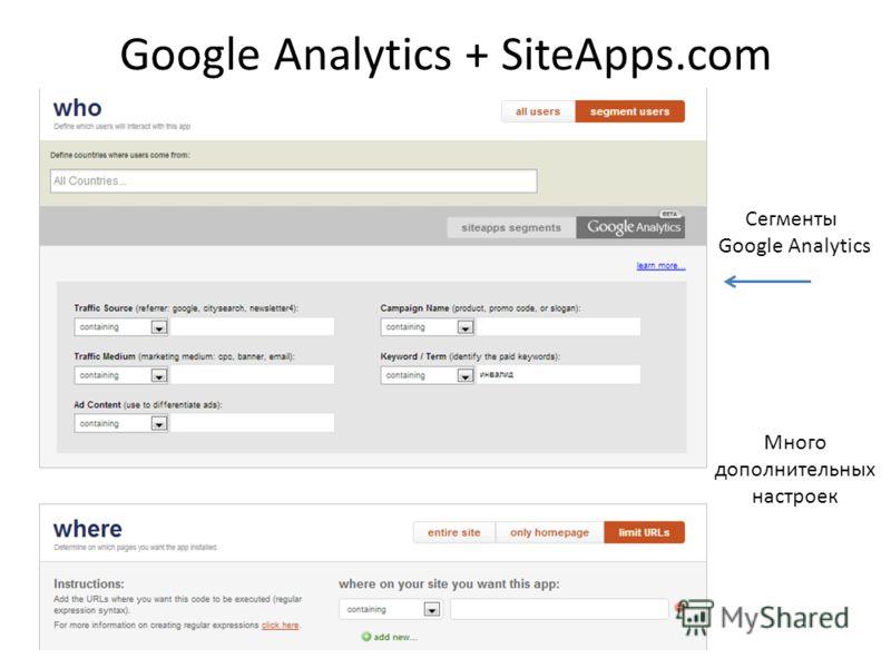 Google Analytics + SiteApps.com Сегменты Google Analytics Много дополнительных настроек
