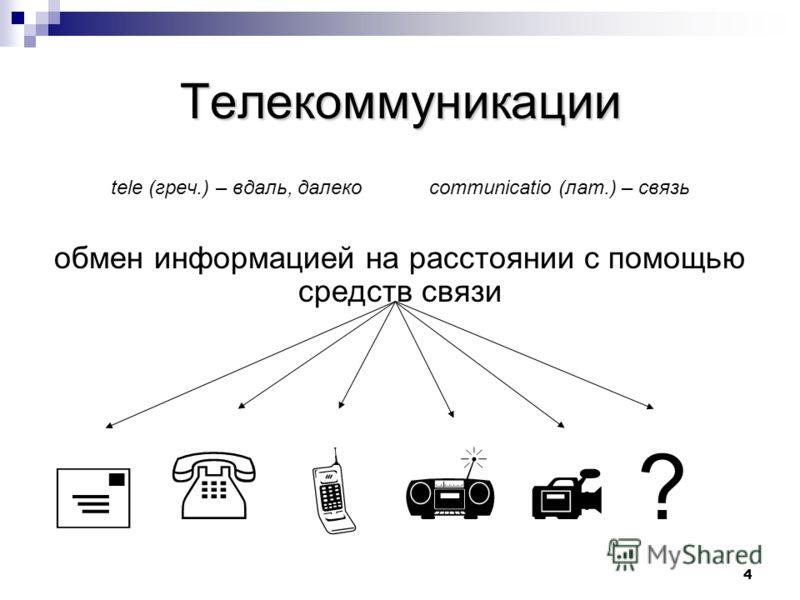 4 Телекоммуникации tele (греч.) – вдаль, далеко communicatio (лат.) – связь обмен информацией на расстоянии с помощью средств связи ?