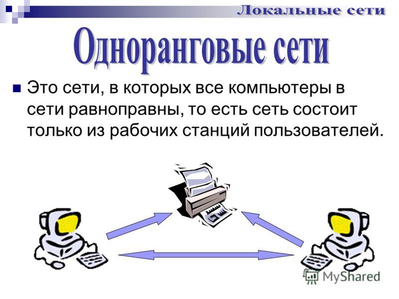 Это сети, в которых все компьютеры в сети равноправны, то есть сеть состоит только из рабочих станций пользователей.