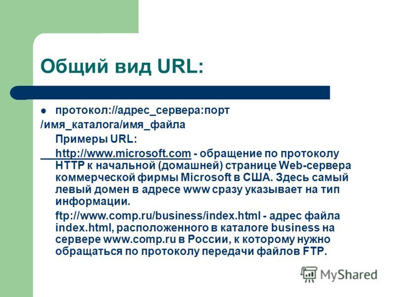 Общий вид URL: протокол://адрес_сервера:порт /имя_каталога/имя_файла Примеры URL: http://www.microsoft.comhttp://www.microsoft.com - обращение по протоколу HTTP к начальной (домашней) странице Web-сервера коммерческой фирмы Microsoft в США. Здесь сам